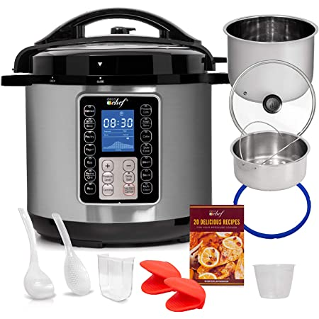 Deco Chef 10-in-1 Pressure Cooker 8QT, Digital, Instant, Rice Cooker, Saute, Slow Cook, Meats, Desserts, Soups, Stews, Includes Recipe Book, Mitts, Grill Rack, and Steaming Basket, Stainless Steel