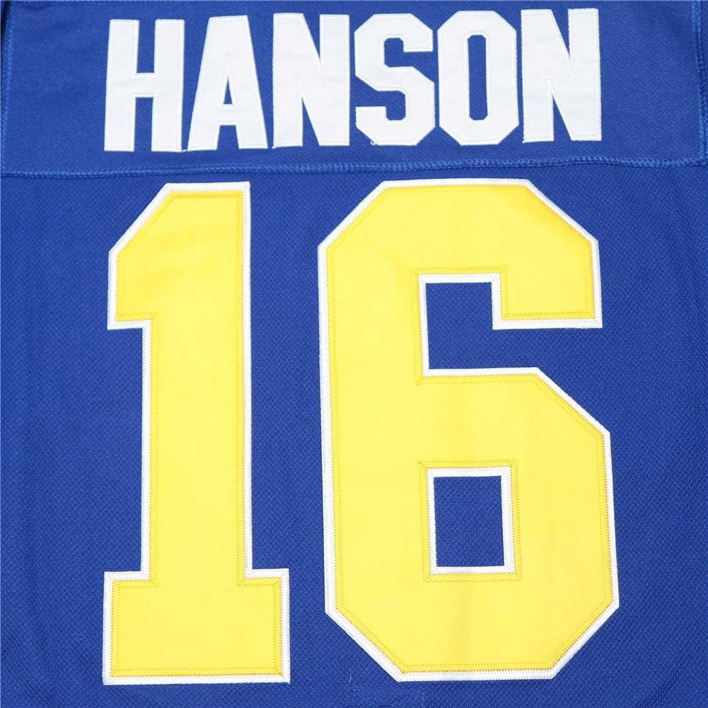 Mens #16 Jack Hanson Brothers Slap Shot Movie Charlestown Chiefs Hockey Jersey Stitched Blue White S-3XL