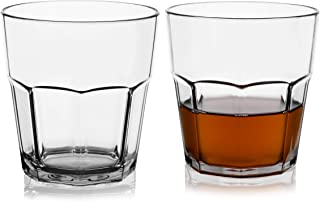 Plastic Juice Glasses Clear Unbreakable 9-ounce Tritan Tumbler for Whiskey Cocktail Crystal Kids Milk Cups, Set of 2, Reusable Shatterproof BPA-FREE Dishwasher Safe Drinking Glasses