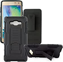 Mstechcorp - For Samsung Galaxy A7 SM-A700FD - Rugged Dual Layer Kickstand Combo Case with Belt clip Holster (SINGLE HOLSTER)