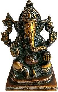 KVR Brass Diwali puja Hindu Idol God Lord Ganesha Ganapati Riddhi Siddhi Vinayaka Bappa Morya Statue for Beginning of Work, Peace and Prosperity (Ganesh-22)