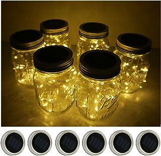 6 Pack Mason Jar Lights 10 LED Solar Warm White Fairy String Lights Lids Insert for Patio Yard Garden Party Wedding Christ...