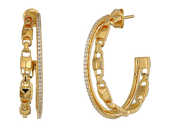 e772df5a1 Michael Kors Precious Metal-Plated Sterling Silver Mercer Link Pavé Halo Hoops  Earrings
