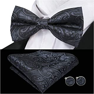Barry.Wang Mens Silk Bow Tie Pocket Square Paisley Bowtie Cufflinks مجموعه مردانه