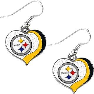 Small PSG NFL Denver Broncos Denver Broncos Earrings Glitter Heart Blue