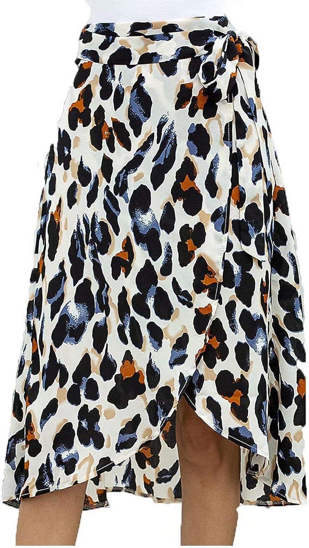 Women's Casual High Waist Maxi Beach Skirt Summer Boho Leopard Printed Slit Sundress