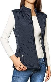 Allegra K Women's Zip Up Stand Collar Lightweight Quilted Padded Vest Dark Blue XS