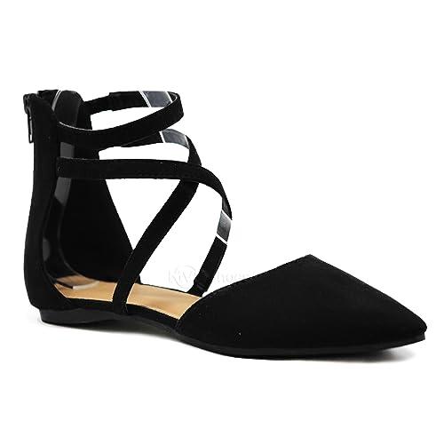 f313dab0a383 MVE Shoes Womens Stylish Flat Closed Toe - Strappy Back Zipper Sandal