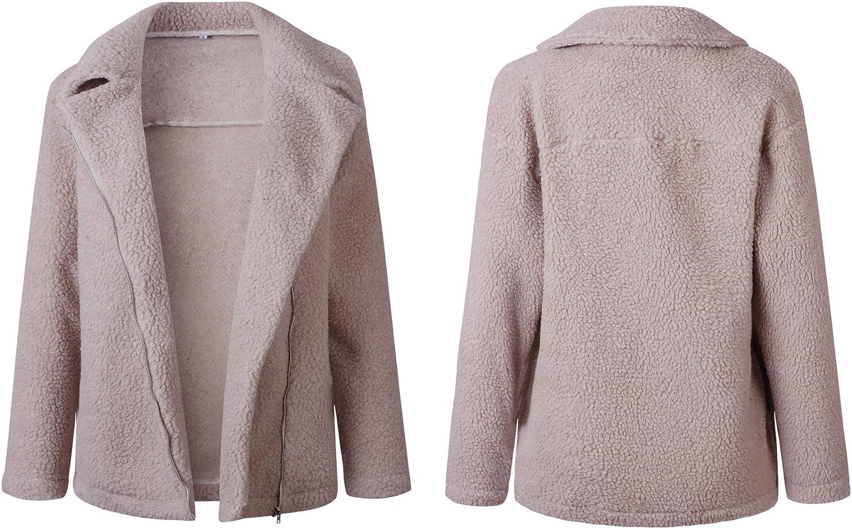 WOZNLOYE Damen Faux Für Lose Mantel Langarm Revers Outwear Reißverschluss Winterjacke Mode Einfarbig Coat Rot Grau