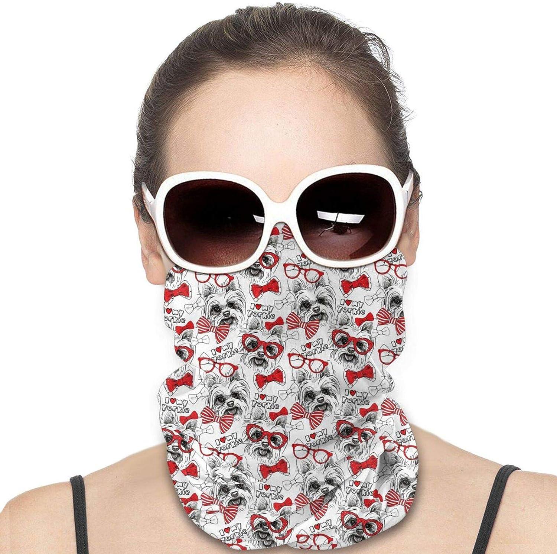 I Love Yorkie Neck Gaiter Windproof Face Cover Balaclava Outdoors Magic Scarf Headband for Men Women Motorcycling Fishing Running Climbing