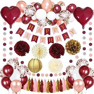 MMTX Anniversaire Décorations Femme Rose Kit Guirlande Happy Birthday Ballons Confettis Rouge Coeur Foil Ballons Décoratio...