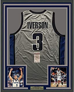 713deebe677 Framed Autographed/Signed Allen Iverson 33x42 Georgetown Grey Basketball Jersey  JSA COA