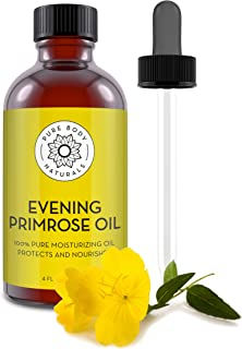 Evening Primrose Oil - liquid, not capsules - for Face, Skin and Hair by Pure Body Naturals, 4 fl oz