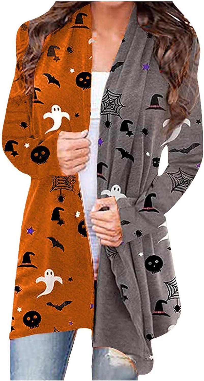 felwors Womens Halloween Cardigan, Womens Funny Cute Pumpkin Cat Ghost Lightweight Long Sleeve Open Front Coat Plus Size