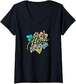 Womens Aloha Mr. Hand THE ORIGINAL V-Neck T-Shirt