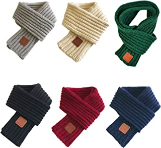 Gellwhu Little Boys Girls Knitted Scarf Solid Color Winter Warm Wrap Scarves Neck Warmer for Toddler Kids