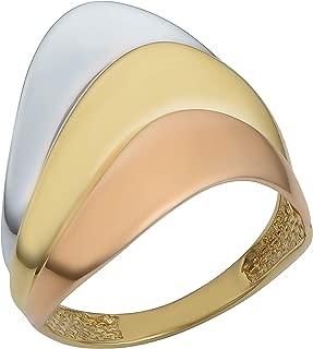 Kooljewelry 14k Tricolor Gold Layered Style Ring