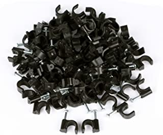 RG6 Cable Clip, KinHom Premium Black Single Coaxial Nail Outdoor Satellite Dish Cable Mounting Clip for Coax Coaxial Wire Ethernet Cable Management (100 PACK)
