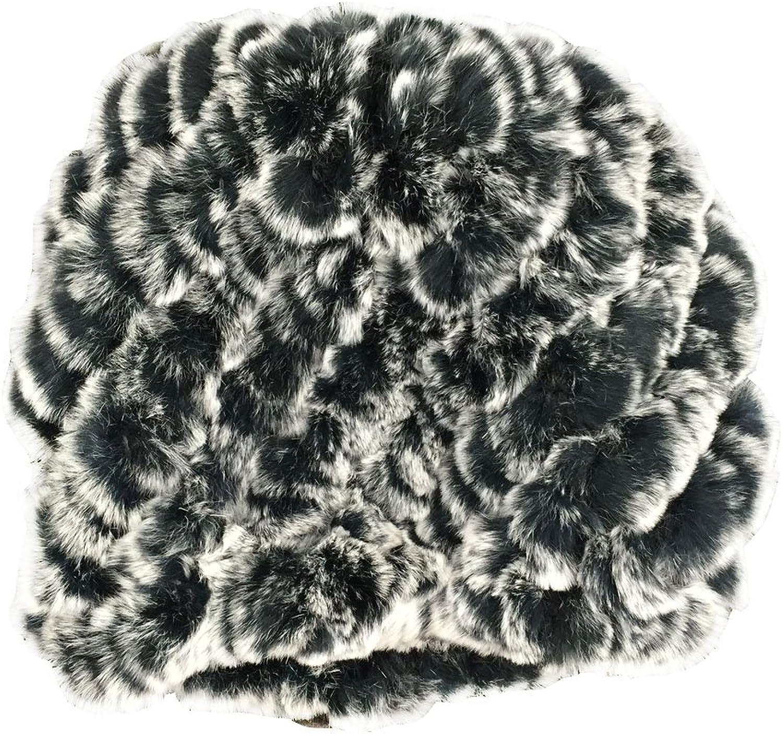 YISEVEN Women's Genuine Rabbit Fur Beanie, Fashion Winter Warm Furry Hat