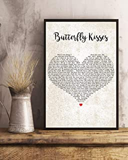 GEHUA06 Song Lyric Print with Frame-Butterfly Kisses Song Lyrics Decor Portrait Poster Print-dercor for Home,Office,Cafe and hotel-12x10in