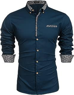 Men's Floral Dress Shirt Long Sleeve Slim Fit Casual Cotton Button Down Shirts