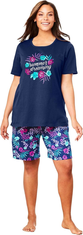 Dreams & Co. Women's Plus Size Knit Pj Short Set Pajamas