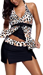 Astylish Womens Leopard Printed Halter Tankini Two Piece Swimsuits with Skirt