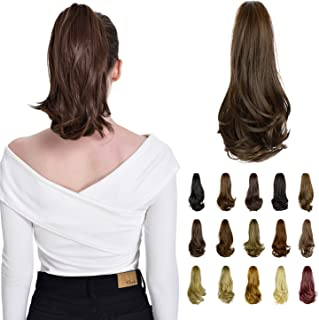 """FESHFEN 15"""" Claw Clip in Ponytail Hair Extensions Synthetic Slightly Curled Wavy Hairpiece for Women(Medium Brown)"""