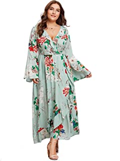 Milumia Plus Size Party Dress Flounce Flared Long Sleeves Maxi Dress Evening Night Out Dress