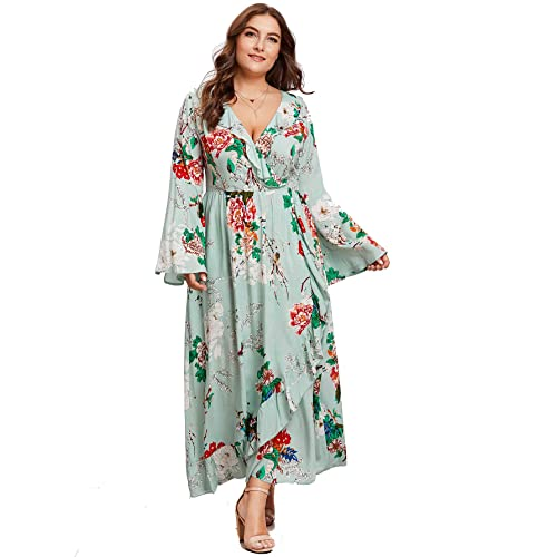 cac37f252980c Milumia Plus Size Long Sleeves Maxi Dress Fit Flare A Line Flowy Empire  Waist Party Dress