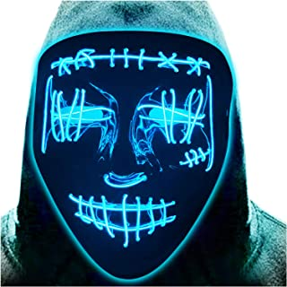 Halloween LED Mask Light Up Scary EL Wire Purge Mask Cosplay Costume Rave Glowing Masks for Festival Party Masquerade Carn...