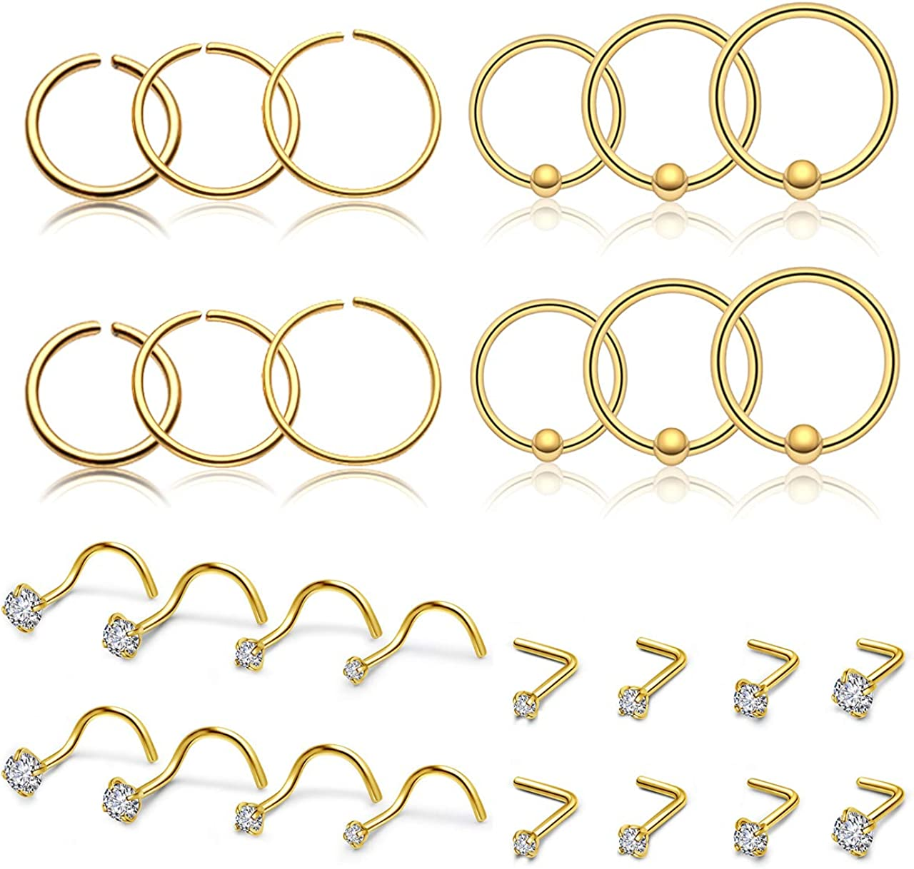 PiercingJ 28pcs Nose Rings for Women 20G Stainless Steel Nose Studs Nose Rings Hoop Crystal L-Shaped Screw Nose Rings Body Piercing Jewelry