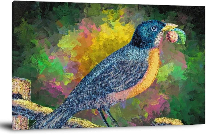 Bluebird on The Trunk PaintingBird Beak Popular standard NEW before selling Pa paint Art Plant Paint