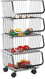Cocoarm Paniers roulants empilables Bacs de Rangement Organisateur en Fil métallique Paniers de Cuisine Rack Chariot de Ra...
