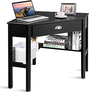 COSTWAY Bureau d'angle, Bureau Informatique Contemporain Table de Travail PC ou d'Ordinateur avec Etagères et Tiroir de Ra...