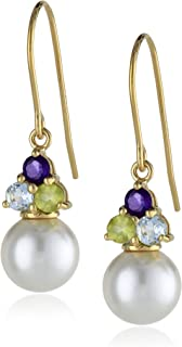 18k Gold-Plated Sterling Silver Freshwater Cultured Pearl and Multi Gemstone Earrings