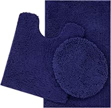 ITSOFT 3pc Non-Slip Shaggy Chenille Bathroom Mat Set, Includes U-Shaped Contour Toilet Mat, Bath Mat and Toilet Lid Cover, Machine Washable, Navy Blue