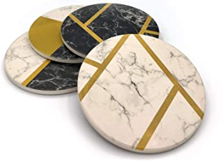 KLONDERMANN Stone Coasters for Drinks with Modern Design - Set of 4 Fancy Absorbent Coasters