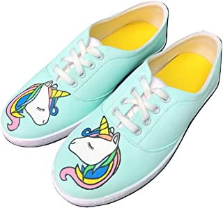 FUNKY N TRENDY Unicorn Theme Mint Hand Painted Waterproof Canvas Casual Shoes