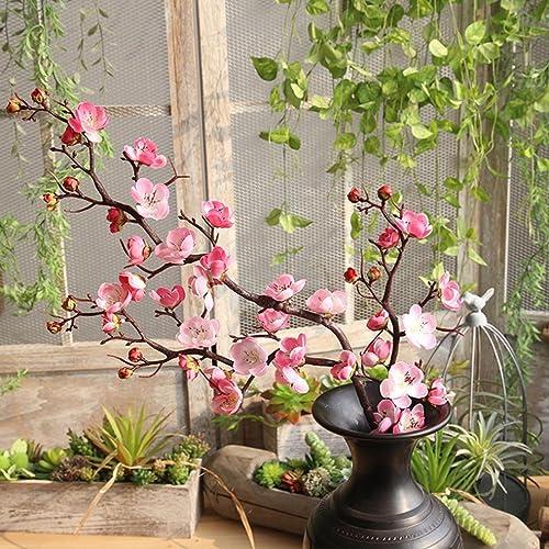 Dinglong Fleurs Fleur Floral Cerisier Printemps Plumes Fleur Branche Simulation Soie Faux Mariage Bouquet FêTe DéCoration Art Romantique (Rose)