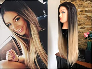 28 Inches Long Straight Full Head Ombre Wig With Front Middle Parting Brown Blonde 220grams (28
