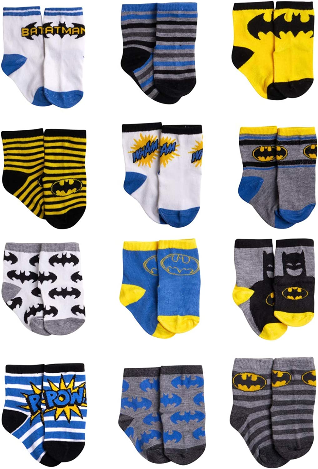 Batman Justice League Baby Toddler Boys 6 pack Athletic Crew Socks