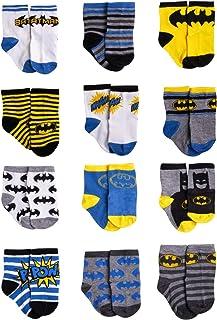 DC Comics Baby Boys Superhero Character Socks: Batman and Justice League 12 Pack (Newborn and Infants)