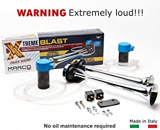 Marco XB2 12V Xtreme Blast Electric (Italian Quality, Heavy Duty, Extremely Loud. Dual Compressor. Horn with Chrome Plated Trumpets. 120 dB)
