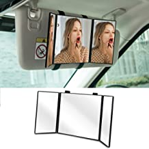 "Huicocy Car Visor Mirror, Makeup Travel Vanity Mirror Car Cosmetic Mirror Clip On Sun Visor Auto Supplies 310mm 12"" Universal for Car Truck SUV Rear View Mirror (12in5.5in, Black)"