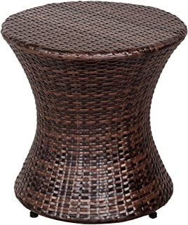 Sundale Outdoor Wicker Hourglass Accent Side Table All Weather Patio Furniture