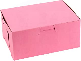 """Pretty Pink Lock Corner Clay Coated Kraft Paperboard Bakery Box No-Window Size 6"""" x 4 1/2"""" x 2 3/4"""" by MT Products (25 Pieces)"""