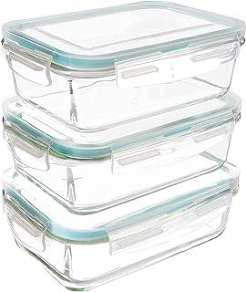 KICHLY Recipiente - Contenedor de Almacenamiento de Alimentos de Vidrio - 6 piezas (3 envases + 3 tapas) - Tapas transparentes - Sin BPA - Para la Cocina o el Restaurante de Uso Doméstico