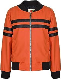 Kids Girls Jackets Contrast Striped Orange PU Bomber Varsity School Bikers Coats