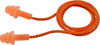 Elvex WELEP311OR Trisonic 3-Flange Reusable Corded Ear Plugs, 9